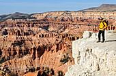 Hiker, Spectra Point,  Cedar Breaks National Monument, Dixie National Forest, Brian Head,Utah, USA