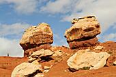 Hiker, Twin Rocks, Capitol Reef National Park, Utah, USA