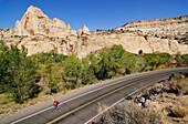 Racing cyclist, Capitol Reef National Park, Utah, USA