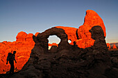 Hiker, Turret Arch, South Window, Arches National Park, Moab, Utah, USA