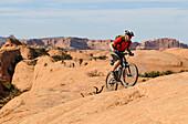 Mountain biker, Slickrock Trail, Moab, Utah, USA