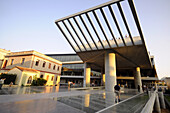 People at Acropolis museum in the evening light, Athens, Greece, Europe