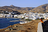 View at the town of Tinos and the harbour, island of Tinos, the Cyclades, Greece, Europe