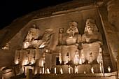 Iluminated Great Temple of Pharaoh Ramesses II., Abu Simbel, Egypt