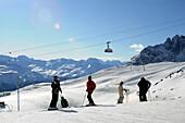 Overhead cable car, ski area Corviglia, St. Moritz, Engadin, Grisons, Switzerland