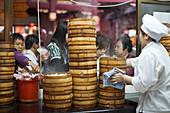 Steaming bamboo baskets at the kitchen of Huxinting Teahouse, Yu Yuan Garden, Nanshi, Feng Shui, Shanghai, China, Asia