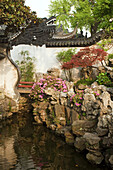 Dragon wall and pond at Yu Yuan Garden, Shanghai, China, Asia