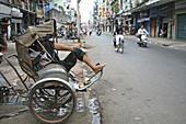 trishaw, cycle rickshaw, waiting driving, street scene, Ho Chi Minh City, Vietnam, Asia, Vietnam, Asia