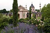 Red mosque in the palace gardens, Schwetzingen castle , Baden-Württemberg, Germany, Europe