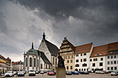 Cathedral St. Marien seen from the Untermarkt, Freiberg, Saxony, Germany, Europe