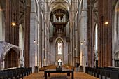 Main nave in St. Mary's church, Marienkirche, Hanseatic city of Lübeck, Schleswig-Holstein, Germany, Europe, UNESCO World Cultural Heritage
