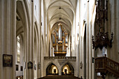 Main nave with view towards the organ in in St. Jakob's church in Rothenburg ob der Tauber, Bavaria, Germany, Europe