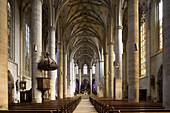 Interior view of the Heilig Kreuz Minster in Schwäbisch Gmünd, Baden-Württemberg, Germany, Europe