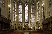Interior view of Ulm Minster, Ulmer Münster, Ulm, Baden-Württemberg, Germany, Europe