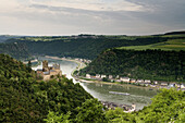 Katz Castle seen from Patersberg across St. Goarshausen, Loreley is situated on the rear left, River Rhine, Rhineland-Palatinate, Germany, Europe, UNESCO world cultural heritage