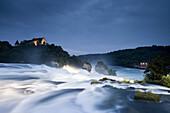 Rheinfall bei Schaffhausen, Rheinfall und Schloss Laufen, Kanton Zürich, Schweiz, Europa