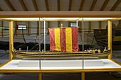 Model of a long-boat in the viking Museum Haithabu, near Schleswig, Schleswig-Holstein, Germany, Europe