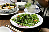 Plate of green vegetables Shansucai, Taiwanese speciality of the mountain people, Jinluan, Republic of China, Taiwan, Asia