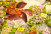 Tropical fish and seafood on ice at a restaurant, Chinese cuisine, Kenting, Kending, Republic of China, Taiwan, Asia