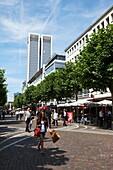 People strolling along Fressgasse, Frankfurt am Main, Hesse, Germany