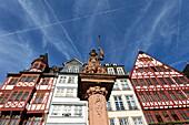 Minerva Fountain, Roemerberg, Frankfurt am Main, Hesse, Germany