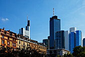 High-rise buildings seen from Opera Square, Frankfurt am Main, Hesse, Germany