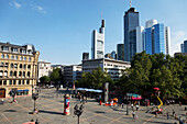 View over Opera Square with high-rise buildings in the background, Frankfurt am Main, Hesse, Germany