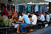 Guests in a pavement restaurant, Bornheim, Frankfurt am Main, Hesse, Germany