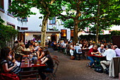 Guests in an apple wine pub, Alt-Sachsenhausen, Frankfurt am Main, Hesse, Germany