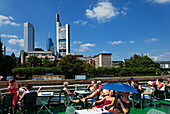 View from an excursion boat to skyscrapers, Frankfurt am Main, Hesse, Germany