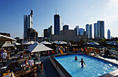 Summer lounge on the top level of a car park, Frankfurt am Main, Hesse, Germany