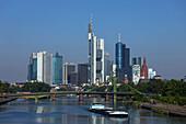 Frankfurt skyline and river Main, Frankfurt am Main, Hesse, Germany