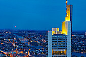 Commerzbank Tower at night, Frankfurt am Main, Hesse, Germany