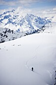 High angle view of a skier in mountains, Wintersport, Schweden
