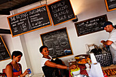 People in a cafe, Saturday market at the Old Biscuit Mill in the Woodstock district of Capetown, Western Cape, RSA, South Africa, Africa