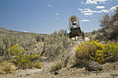 Reproduction covered wagon among Gray Rabbitbrush and Sagebrush on Oregon Trail