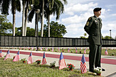 Florida,  Miami,  Bayfront Park,  The Moving Wall,  Vietnam Veterans Memorial,  replica,  names,  killed in action,  opening ceremony,  military,  war,  soldier,  honor,  guard,  American flags,  man,  uniform,  Army,  sacrifice,  remember