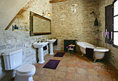 Bathroom with individual bathtub in a country house