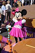 Minnie Mouse on Float in Parade at Walt Disney Magic Kingdom Theme Park Orlando Florida Central