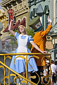 Alice in Wonderland in Parade at Walt Disney Magic Kingdom Theme Park Orlando Florida Central