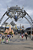 Arch entrance to Tomorrow Land at Walt Disney Magic Kingdom Theme Park Orlando Florida Central