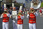 Band in Parade at Walt Disney Magic Kingdom Theme Park Orlando Florida Central