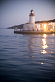 Balearic, Blur, Dusk, Ibiza, Island, Islands, Light, Lighthouse, Lights, Marine, Mediterranean Sea, Mirror, Night, Port, Sea, L60-817473, agefotostock