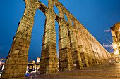 Roman Aqueduct at night,  Segovia. Castilla-Leon,  Spain