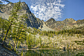 Copper Glance Lake and peaks of Isabella Rdge,  North Cascades Washington USA
