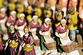 handmade figures used to decorate neapolitan crib on sale in a shop  campania  italy