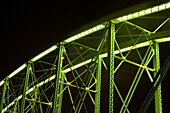 Bridge, Color, Colour, Green, Lighted, Metal, Metalic, Night, Nocturnal, Structure, M90-863206, agefotostock