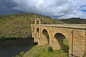Roman bridge over the Tagus River,  Alcantara Caceres province,  Extremadura,  Spain