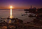 America, Coast, Color, Colour, Head, House, Landscape, Light, Maine, New england, Ocean, Portland, Rocks, scenic, Sea, Sunrise, United states, S19-830132, agefotostock