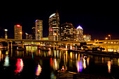 Downtown Tampa and Hillsborough River at Night,  Tamapa,  Florida